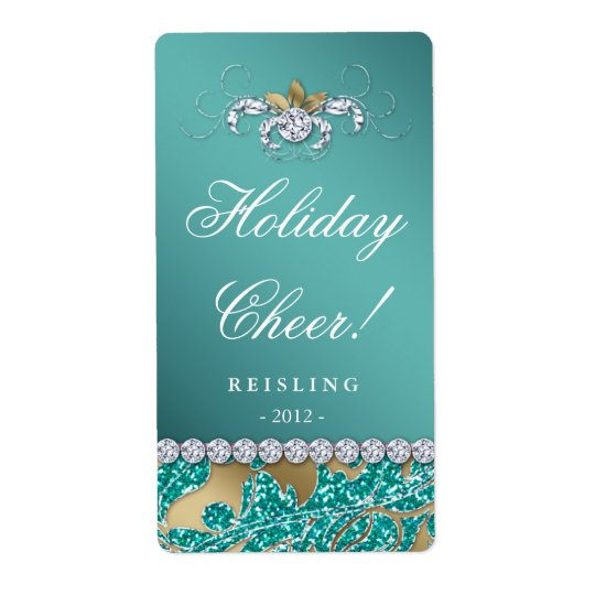 Christmas Wine Label Glitter Teal Leaves Gold 2