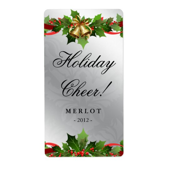 Christmas Wine Label Holly Silver Bells Damask