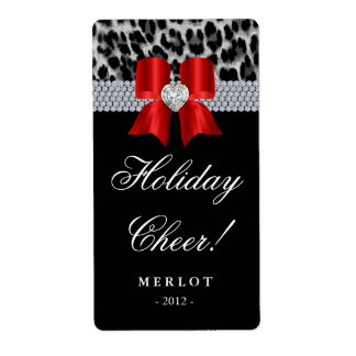 Christmas Wine Label Leopard Diamonds Bow Shipping Label