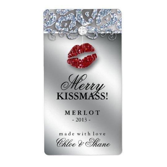 Christmas Wine Label Makeup Lips Leopard Glitter