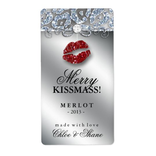 Christmas Wine Label Makeup Lips Leopard Glitter Shipping Label