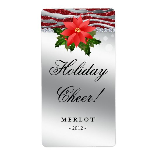 Christmas Wine Label Poinsettia Zebra Glitter Shipping Label