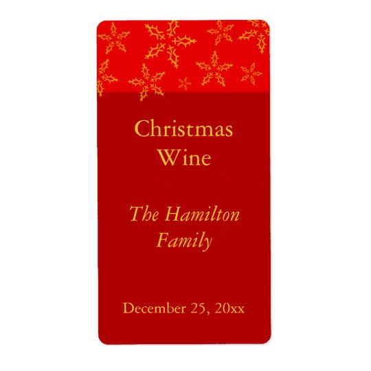 Christmas Wine Label Shipping Label