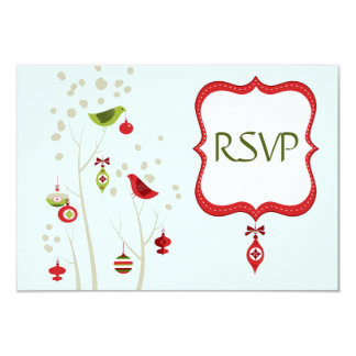 Christmas Winter Birds Wedding RSVP Cards