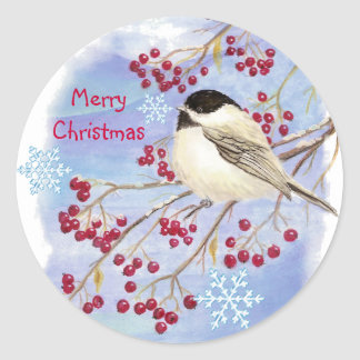 Christmas, Winter Chickadee Bird Round Sticker