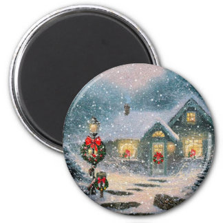 Christmas Winter Cottage Magnet