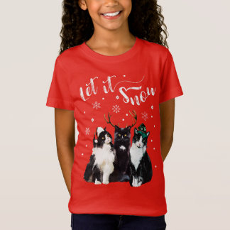 Christmas, Winter. Let it snow. Cats, Watercolor T-Shirt