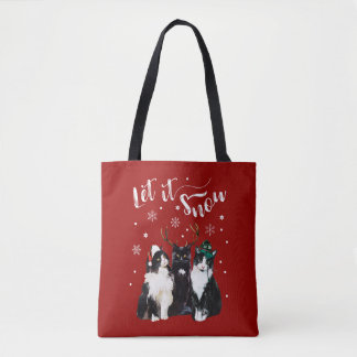 Christmas, Winter. Let it snow. Cats, Watercolor Tote Bag