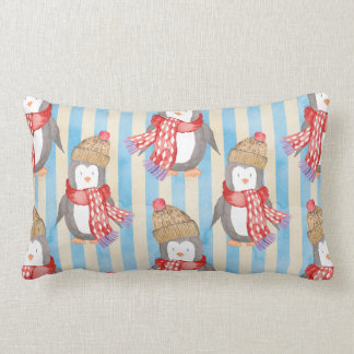 Christmas Winter Penguin Lumbar Cushion