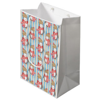 Christmas Winter Penguin Medium Gift Bag