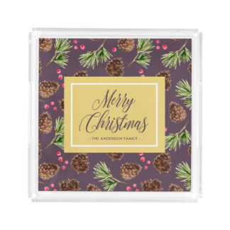 Christmas Winter Pine Needles and Branches Pattern Acrylic Tray