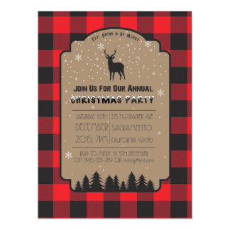 Christmas Winter Rustic Deer Party Invitation