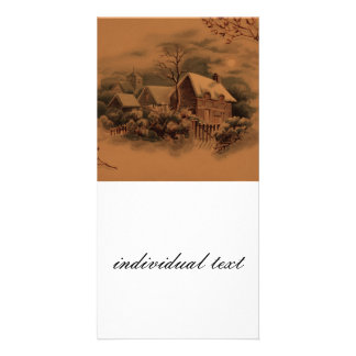 christmas winter scene golden personalized photo card