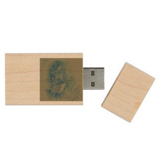 christmas winter scene green wood USB 3.0 flash drive