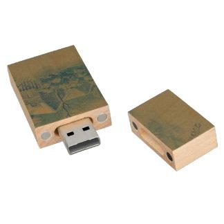 christmas winter scene green wood USB 2.0 flash drive