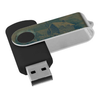 christmas winter scene green swivel USB 2.0 flash drive