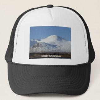 christmas winter scene trucker hat