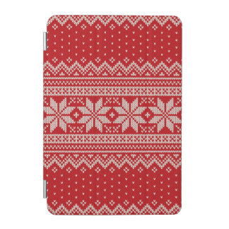 Christmas Winter Sweater Knitting Pattern - RED iPad Mini Cover