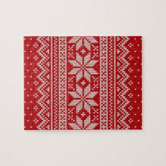 Christmas Winter Sweater Knitting Pattern - RED Jigsaw Puzzle