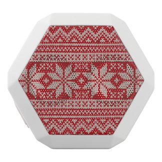 Christmas Winter Sweater Knitting Pattern - RED White Bluetooth Speaker