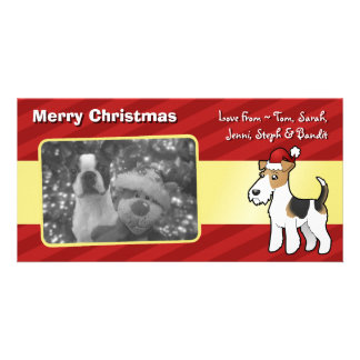 Christmas Wire Fox Terrier Customised Photo Card