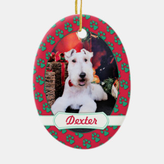 Christmas - Wire Fox Terrier - Dexter Ceramic Oval Decoration