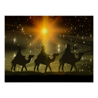 Christmas Wise Men Golden Star of Bethlehem Poster