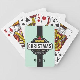 Christmas Wishes custom monogram playing cards