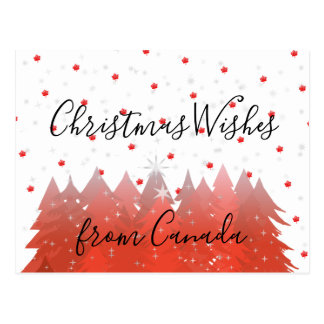 Christmas Wishes From Canada 150 Red Maple Leaf Postcard
