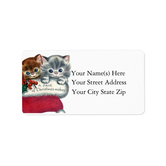 Christmas Wishes From Kittens Christmas Address Label