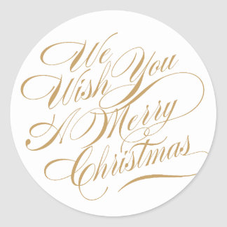 Christmas Wishes | Gold/White Classic Round Sticker