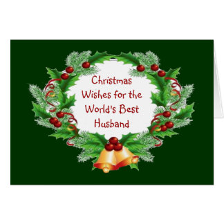 Christmas Wishes Holly Berry Wreath for Husband Greeting Card
