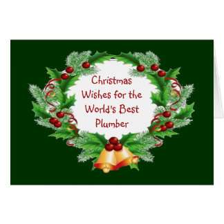Christmas Wishes Holly Berry Wreath for Plumber Greeting Card