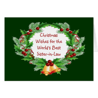 Christmas Wishes Holly Berry Wreath Sister-in-Law Greeting Card