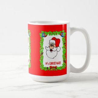 Christmas wishes, portrait of Santa Basic White Mug