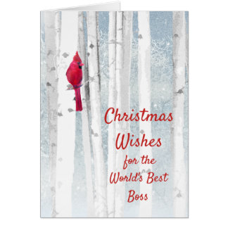 Christmas Wishes Red Cardinal for Boss Card