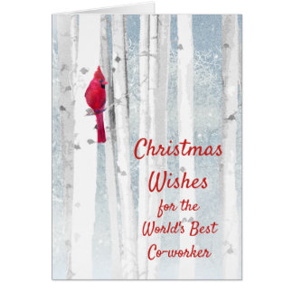 Christmas Wishes Red Cardinal for Co-worker Card