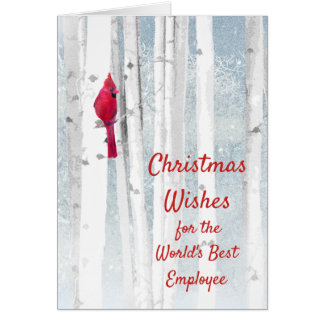 Christmas Wishes Red Cardinal for Employee Card