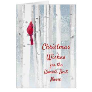 Christmas Wishes Red Cardinal for Nurse Card