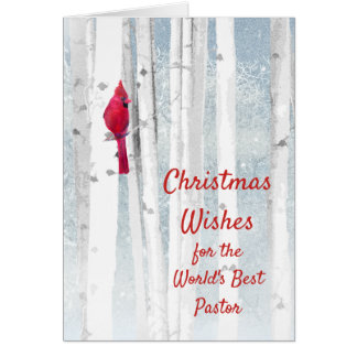 Christmas Wishes Red Cardinal for Pastor Card