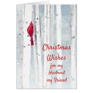 Christmas Wishes Red Cardinal Husband Friend Card