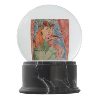 Christmas witch and her rabbit snow globe snow globes
