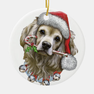 Christmas With Toby The Cocker Spaniel Ceramic Ornament