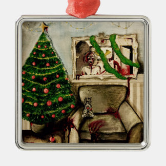 Christmas with zombies decoration Silver-Colored square decoration