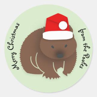 Christmas Wombat Classic Round Sticker