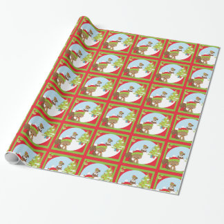 Christmas Woodland Animal Squirrel Wrapping Paper