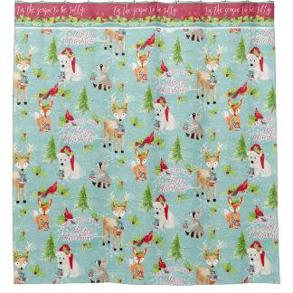 Christmas Woodland Animals Fox Deer Raccoon Bear Shower Curtain