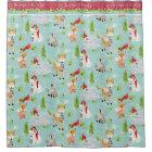 Christmas Woodland Animals Fox Deer Racoon Bear Shower Curtain