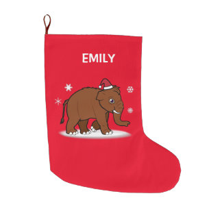 Christmas Wooly Mammoth Customizable 2-Sided Large Christmas Stocking