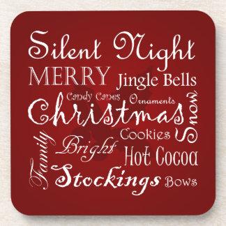 Christmas Word Art Drink Coasters